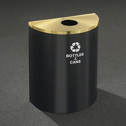 Glaro RecyclePro Profile Half Round Recycling Bin - 28-1/2 x 24 x 12 - 29 Gallon - B2499 - finished in Satin Black with a Satin Brass top
