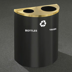 Glaro RecyclePro Profile Half Round Dual Purpose Recycling Station - 28-1/2 x 24 x 12 - 29 Gallon - BW2499 - finished in Satin Black with a Satin Brass top
