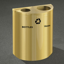 Glaro RecyclePro Profile Half Round Dual Purpose Recycling Station - 28-1/2 x 24 x 12 - 29 Gallon - BW2499BE