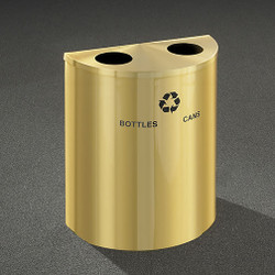 Glaro RecyclePro Profile Half Round Dual Purpose Recycling Station - 28-1/2 x 24 x 12 - 29 Gallon - BC2499BE