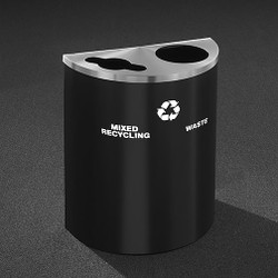 Glaro RecyclePro Profile Half Round Dual Purpose Recycling Station - 28-1/2 x 24 x 12 - 29 Gallon - MW2499 - finished in Satin Black with a Satin Aluminum top