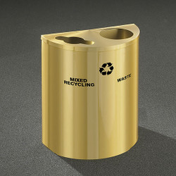 Glaro RecyclePro Profile Half Round Dual Purpose Recycling Station - 28-1/2 x 24 x 12 - 29 Gallon - MW2499BE