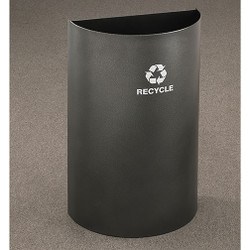Glaro RecyclePro Profile Half Round Open Top Recycling Bin - 18 x 30 x 9 - 16 Gallon - RO1899 - finished in Silver Vein