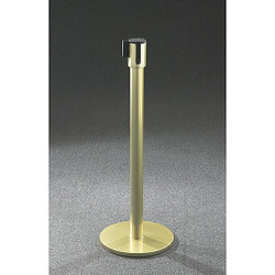 Glaro Extenda-Barrier Flat Base Post Retractable Strap Barrier with 13' Strap - 152GB - Gloss Brass