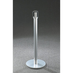 Glaro Extenda-Barrier Flat Base Post Retractable Strap Barrier with 13' Strap - 152GC - Gloss Chrome