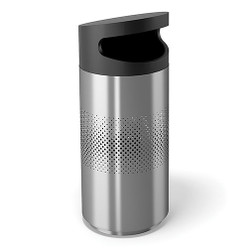 Peter Pepper Tilt Round Trash Can TL-S-SS - Side Opening - Stainless Steel - with Optional Perforated Sides - 20 x 47 - 30 Gallon