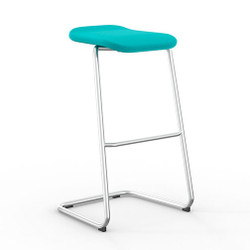 Peter Pepper StackR Stacking Stool with Chrome Frame and Upholstered Seat