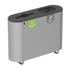 Peter Pepper ReMix Recycling Station - DUO-S - Finished in Aluminum Metallic - D3 Top Configuration - Featuring Decals