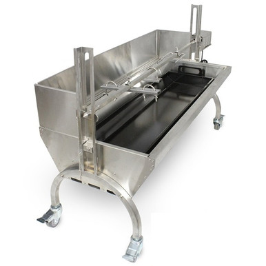 Stainless Steel Rotisserie Grill w/ Windscreen (Angle) - Latin Touch