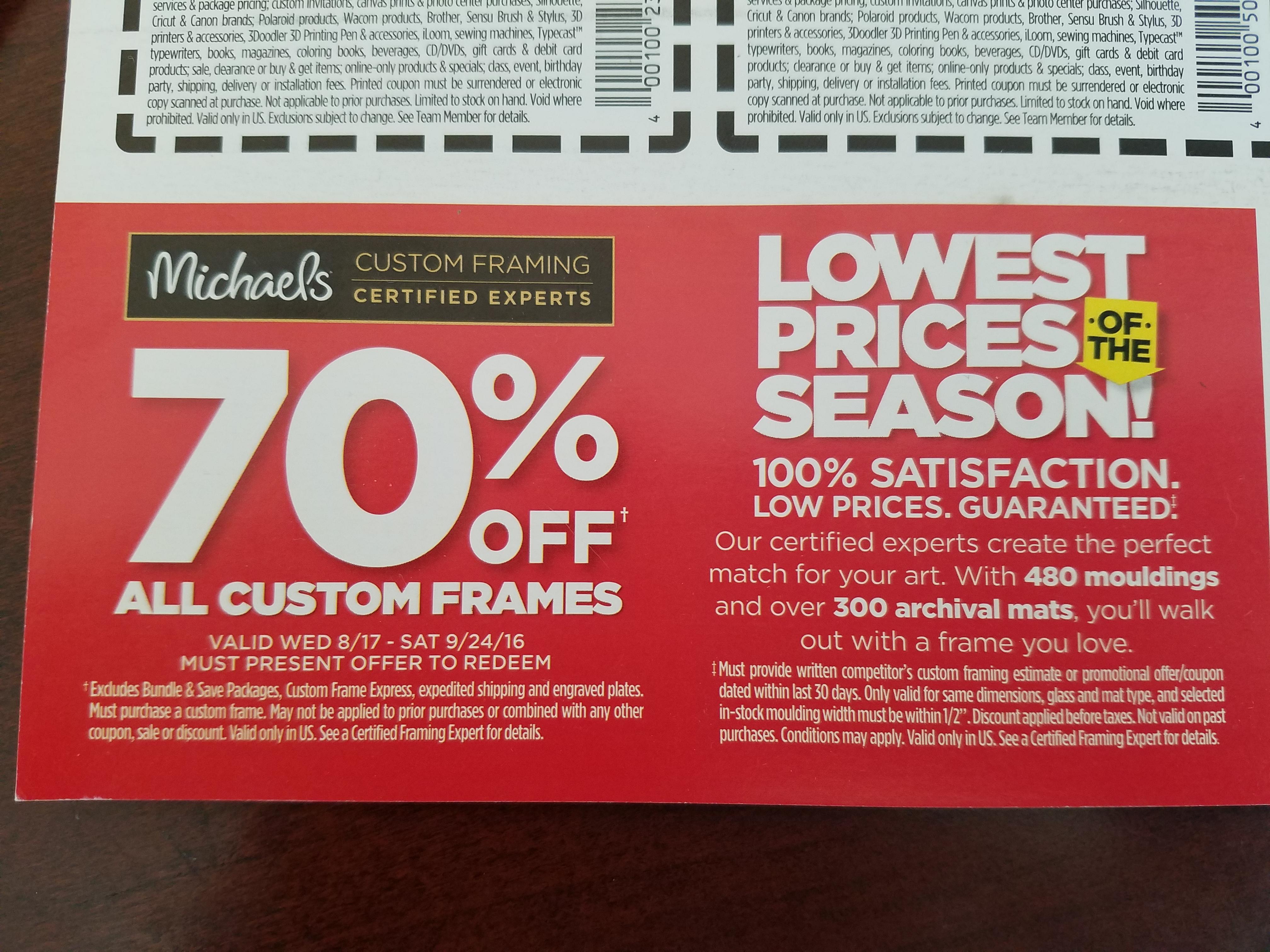 Custom framing coupons 60