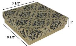 """Damask Print Cotton Filled Boxes - 3 1/2"""" x 3 1/2"""" x 1""""H"""