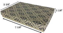 "Damask Print Cotton Filled Boxes - 7 1/8"" x 5 1/8"" x 1 1/8""H"