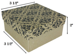 "Damask Print Cotton Filled Boxes - 3 3/4"" x 3 3/4"" x 2""H"