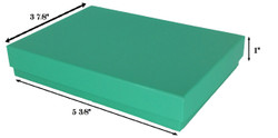 "Teal Cotton Filled Boxes - 5 3/8"" x 3 7/8"" x 1""H"