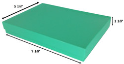 "Teal Cotton Filled Boxes - 7 1/8"" x 5 1/8"" x 1 1/8""H"