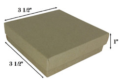 "Kraft Brown Cotton Filled Boxes - 3 1/2"" x 3 1/2"" x 1""H"