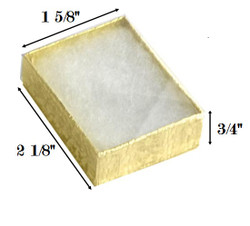 "Gold Foil Clear Top Cotton Filled Boxes - 2 1/8"" x 1 5/8"" x 3/4""H"