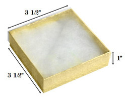 "Gold Foil Clear Top Cotton Filled Boxes - 3 1/2"" x 3 1/2"" x 1""H"