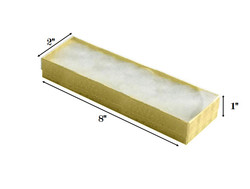 "Gold Foil Clear Top Cotton Filled Boxes - 8"" x 2"" x 1""H"