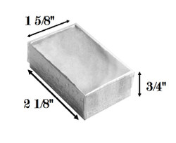 "Silver Foil Clear Top Cotton Filled Boxes - 2 1/8"" x 1 5/8"" x 3/4""H"