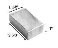 "Silver Foil Clear Top Cotton Filled Boxes - 2 5/8"" x 1 1/2"" x 1""H"