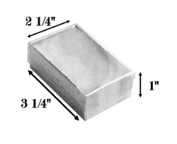 "Silver Foil Clear Top Cotton Filled Boxes - 3 1/4"" x 2 1/4"" x 1""H"
