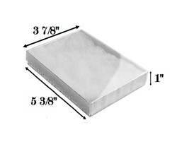 "Silver Foil Clear Top Cotton Filled Boxes - 5 3/8"" x 3 7/8"" x 1""H"