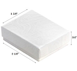 "White Swirl Cotton Filled Boxes - 2 1/8"" x 1 5/8"" x 3/4""H"