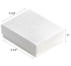 "White Swirl Cotton Filled Boxes - 3 1/4"" x 2 1/4"" x 1""H"