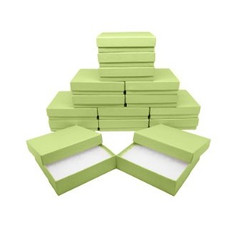 "Light Green Kraft Cotton Filled Boxes - 5 7/16"" x 3 1/2"" x 1""H"