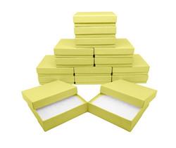 """Yellow Kraft Cotton Filled Boxes - 3 1/2"""" x 3 1/2"""" x 7/8""""H"""