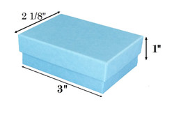 "Baby Blue Kraft Cotton Filled Boxes - 3"" x 2 1/8"" x 1""H"