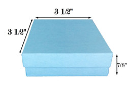 "Baby Blue Kraft Cotton Filled Boxes - 3 1/2"" x 3 1/2"" x 7/8""H"