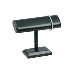 Black Leatherette Oval T Bar