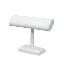 White Leatherette Oval T Bar Bracelet Display