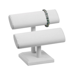 White Leatherette Double Oval T Bar