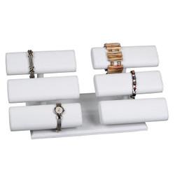 White Leatherette Double Triple Oval T Bar