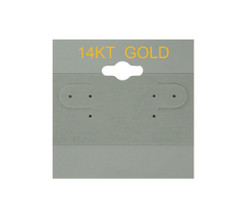"""14K Gold"" Printed Grey Hanging Earring Cards - 1 ½"" x 1 ½"""