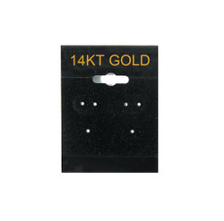 """14K Gold"" Printed Black Hanging Earring Cards - 1 ½"" x 2"""