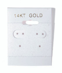 """14K Gold"" Printed White Hanging Earring Cards - 1 ½"" x 2"""
