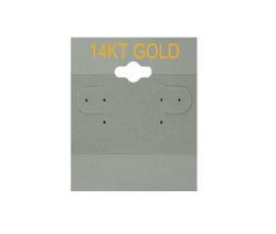"""14K Gold"" Printed Grey Hanging Earring Cards - 1 ½"" x 2"""