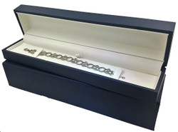 "Elegant Navy Jewelry Box for Bracelet or Watches 10 ¼"" x 2 ¼"" x 1 ½"""