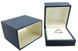 "Elegant Navy Jewelry Box for Rings 3 ¼"" x 3 ¼"" x 2"""