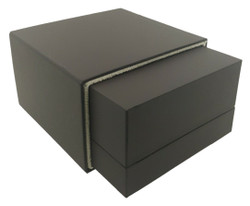 "Elegant Dark Brown Jewelry Box for Pendant & Earring Combination 4 ½"" x 4 ½"" x 2 ½"""