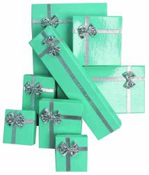"12 Boxes - Glossy Teal Bow Tie Gift Boxes for Large Errings - 2 1/8"" x 3 1/8"" x 1"""