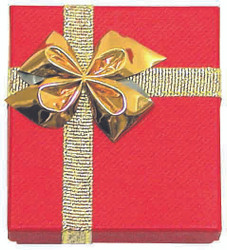 """12 Boxes - Linen Red Bow Tie Gift Boxes for Bangles or Bracelets - 3 5/8"""" x 3 5/8"""" x 1 1/8"""""""