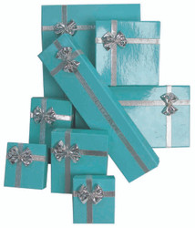 "12 Boxes - Glossy Teal Bow Tie Gift Boxes for Bangles or Bracelets - 3 5/8"" x 3 5/8"" x 1 1/8"""