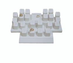 White Faux Leather 16-Ring & 7 Flat Earring/Pendant Jewelry Display Set With Base