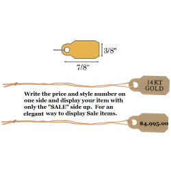 "3/8"" x 7/8"" Pre-Printed ""14KT GOLD"" String Tags"