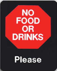 """NO FOOD OR DRINKS - Please"" Store Signage - 7"" x 5 1/2""H"
